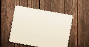 Top view of greeting card on old wood background with space for text, greeting concept festive holiday stock video footage