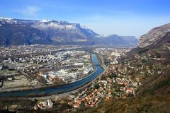 Top View : Grenoble, France Stock Image