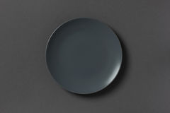 Top view of grey empty plate Royalty Free Stock Photography