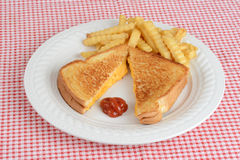 Top view grilled cheese sandwich with fries Stock Photos