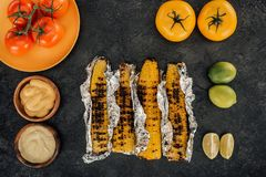 Grilled corn covered in foil Royalty Free Stock Images