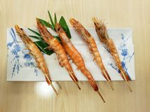 Top view of grilled shrimps on skewers stock photos