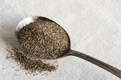 Ground Black Pepper on a Vintage Spoon. Top view of ground black pepper on a vintage spoon stock image