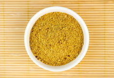Top view of ground flaxseed powder Royalty Free Stock Images