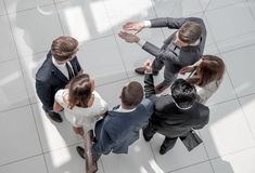 Top view. a group of business people discussing problems. royalty free stock photography