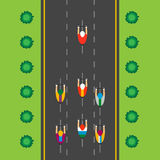 Top view of group of cyclists at professional race. Riding through city royalty free illustration