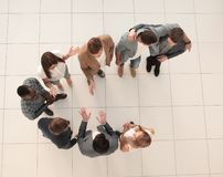Top view.a group of employees standing in the lobby of the office stock photography