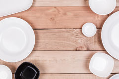 Top View Group of Empty Dish On Wood Background Textured Royalty Free Stock Photo