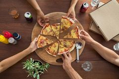 Top view of pizza party Stock Photos