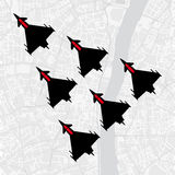 Top view of a group of military aircraft flying in formation over a city royalty free illustration