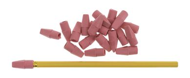 Red erasers with yellow pencil isolated on a white background. Top view of a group of synthetic rubber erasers with a yellow pencil to the side isolated on a Royalty Free Stock Images