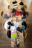 Top view Group of teenage friends working and meeting in team with reports Royalty Free Stock Photography