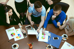 Top view of a group of young people at a business meeting schedu Stock Photography