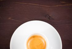 Top of view of half cup of italian espresso coffee Stock Photography