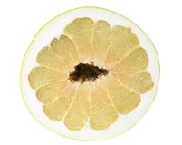 Top view on half of pomelo isolated on white with Royalty Free Stock Photos