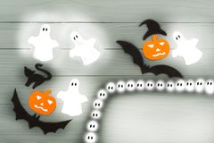 Halloween paper silhouette of different characters Stock Photography