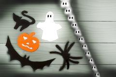 Halloween paper silhouette of different characters Royalty Free Stock Image