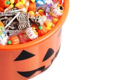 Top view halloween pumpkin pail with candy Royalty Free Stock Photo