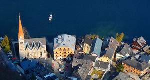 Top view of the Hallstatt and lake Hallstater See, Austria. Royalty Free Stock Photo