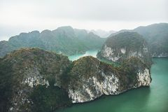 Top view of Halong Bay Vietnam. Beautiful seascape with rocks and sea. Exotic nature of Southeast Asia stock photos