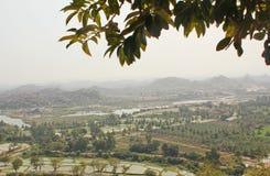 Top view of Hampi and Tungabhadra river, Hampi, India royalty free stock photos