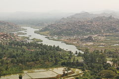 Top view of Hampi and Tungabhadra river, Hampi, India Royalty Free Stock Images