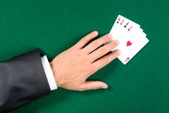 Top view of hand with aces on the table Royalty Free Stock Image