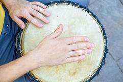 Top view hand of bongo player royalty free stock photo