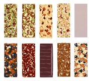 Top view of hand drawn healthy and energy bars, nuts, granola, muesli or cereal. Set of energy, sport, breakfast and Royalty Free Stock Photo
