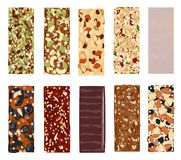 Top view of hand drawn healthy and energy bars, nuts, granola, muesli or cereal. Set of energy, sport, breakfast and Stock Images