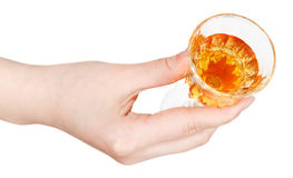Top view of hand holding glass of dessert wine Stock Photo