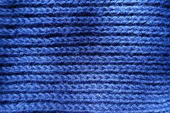 Top view of handmade blue rib knit fabric. Top view of hand made blue rib knit fabric Royalty Free Stock Photo