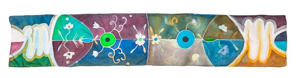 Top view of batik silk scarf with floral pattern Royalty Free Stock Photos