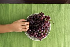 Top view of hand picked grape. In dish on the table Royalty Free Stock Images