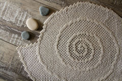 Top view handmade embroidery tablecloth Stock Photo