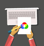 Top view Hands Hold Color Model. Top view element designer programmer hands hold color model and laptop flat design background. Design concept. Hands with pencil Royalty Free Stock Photos