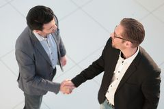 Top view. handshake business partners. The concept of cooperation Royalty Free Stock Photos