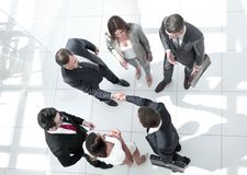 Top view. handshake business people royalty free stock photo