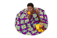 Top view of happy african american woman in colorful sundress Royalty Free Stock Photo
