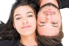 Top view of a happy couple heads to each other Royalty Free Stock Photography