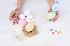 Top view happy Easter festival background.Design handmade father royalty free stock photos