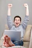 Top view of happy guy Stock Photo