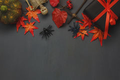 Top view Happy Halloween Holiday background with decoration. royalty free stock image