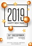 Top View of 2019 Happy New Year Party template design decorated. With baubles and stars for celebration concept vector illustration