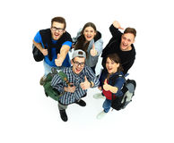 Top view. Happy smiling young group looking Royalty Free Stock Image