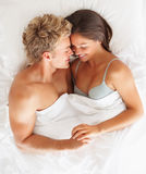Top view of a happy young couple Stock Photography