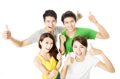 Top view of happy young group  with thumbs up Royalty Free Stock Photo
