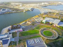 Top view Harbor Bridge and Water Gardens near Port of Corpus Chr royalty free stock photography