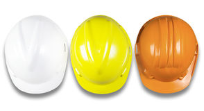 Top view of hard hat  White, Yellow, Orange,  safety constructio Royalty Free Stock Photo