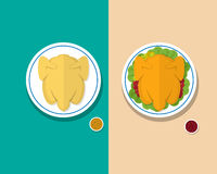Top view Headless Steamed chicken and Roasted duck. Vector Stock Photography